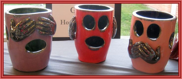 See No Evil, Hear No Evil, Speak No Evil --  Ceramic Sculptures