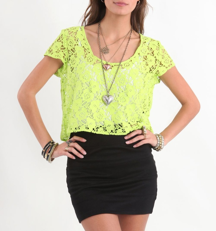 bought this top and wore it with my high waisted black shorts. i am obsessed with that outfit! i was hesitant of the yellow since i didn't know if i could pull it off but i actually can!Lace Tops, Green Lace, Pencil Skirts, Lace Shirts, Neon Lace, Lace Struck, Hot Outfit, Dreams Closets, Woman Shirt