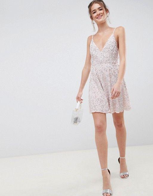 bbb6eb37f8 DESIGN delicate sequin plunge mini dress with full skirt