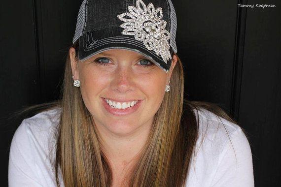 Womens Cadet Hat Trucker Bling Rhinestone Gray by Ebowsboutique, $35.00