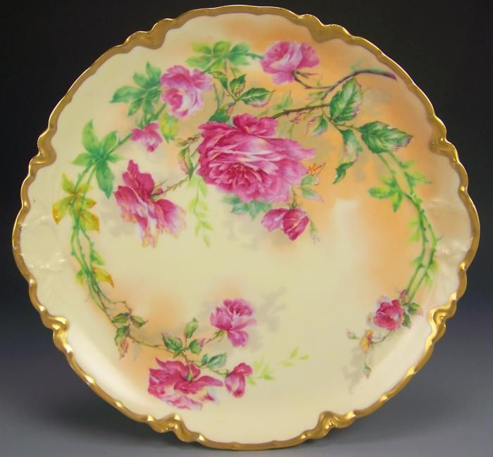 Limoges Hand Painted Roses Charger Antique Amp Vintage Plates Bowls And Chargers Pinterest