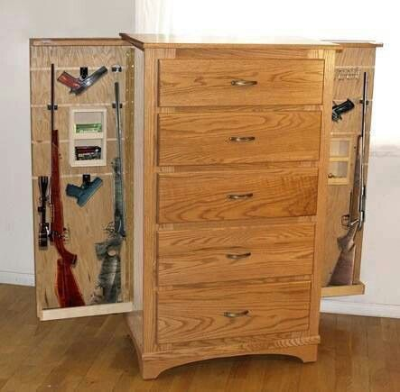 Awesome hidden gun cabinet idea.
