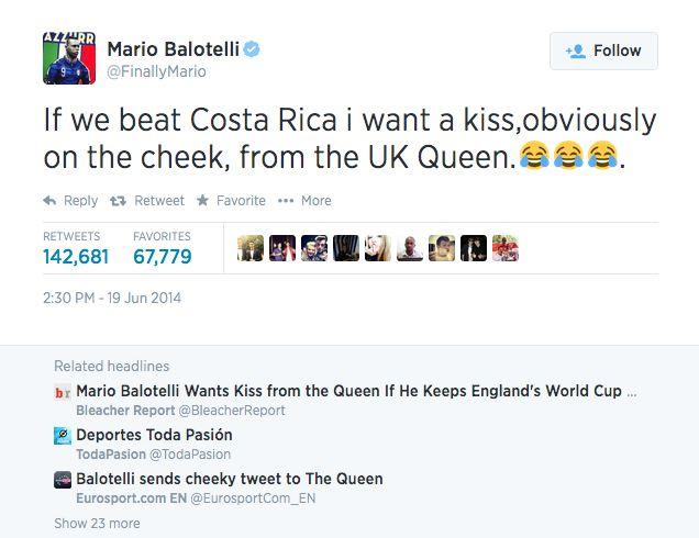 """Balotelli: """"Haluan Englannin kuningattarelta suukon, jos pidämme Englannin jatkossa""""  http://puoliaika.com/?p=10525 ( #brasilia 2014 #Englannin kuningatar #Englanti #Italia #kuva #Mario Balotelli #mm-kisat 2014 #Pusu #Suukko)"""