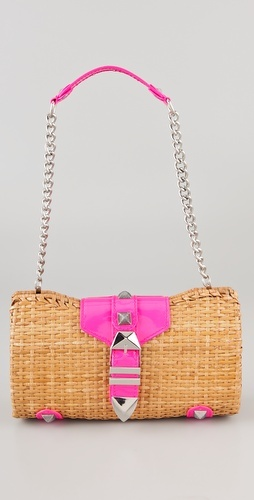 fashion/swimsuit special - And to go with your cute suit ... a cute bag!  Rebecca Minkoff, Straw with Neon Fairy Tale Bag, $195