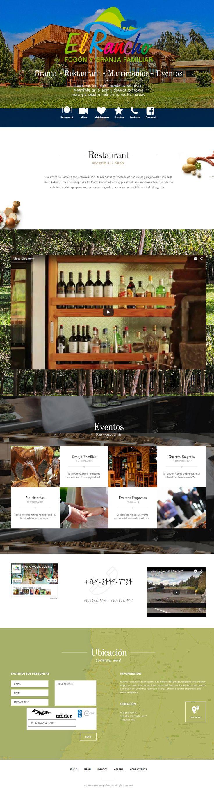 Diseño web para El Rancho. Restaurant, Centro de Eventos, Granja Familiar