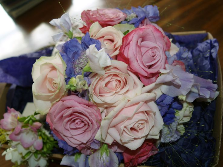 Wedding Bouquet Pink and White Roses with Purple Flowers