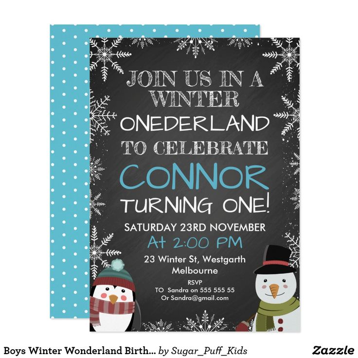 Boys Winter Wonderland Birthday Invitation