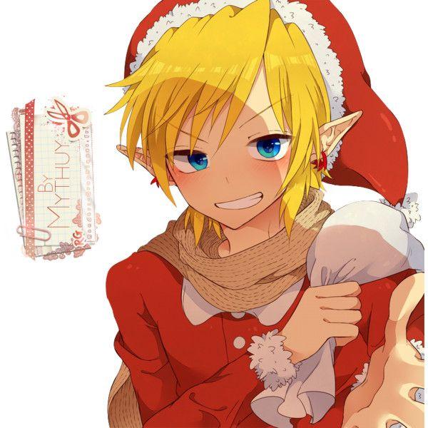 Render nintendo legend of zelda link noel bonnet blond echarpe rouge -... ❤ liked on Polyvore featuring anime and characters
