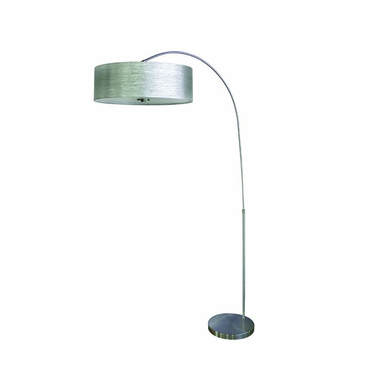 Hampton bay 63 75 in brushed steel adjustable height arc lamp living rooms room and formal living rooms