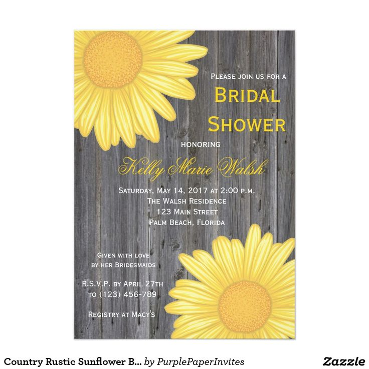 Country Rustic Sunflower Bridal Shower Invitation