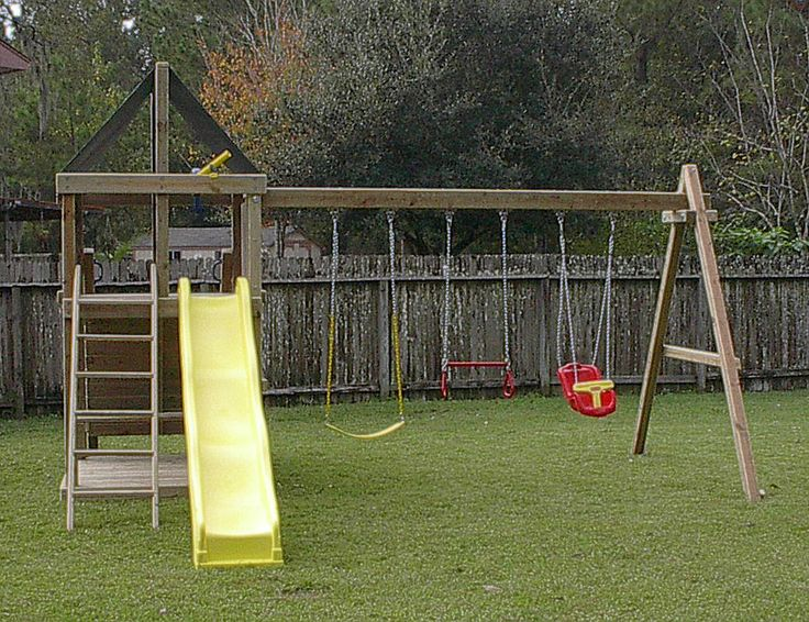 I like the construction of the A-frames on this swing set.