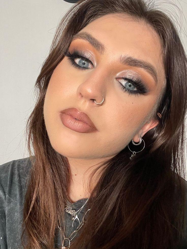 Nude lipstick and smokey eye makeup look