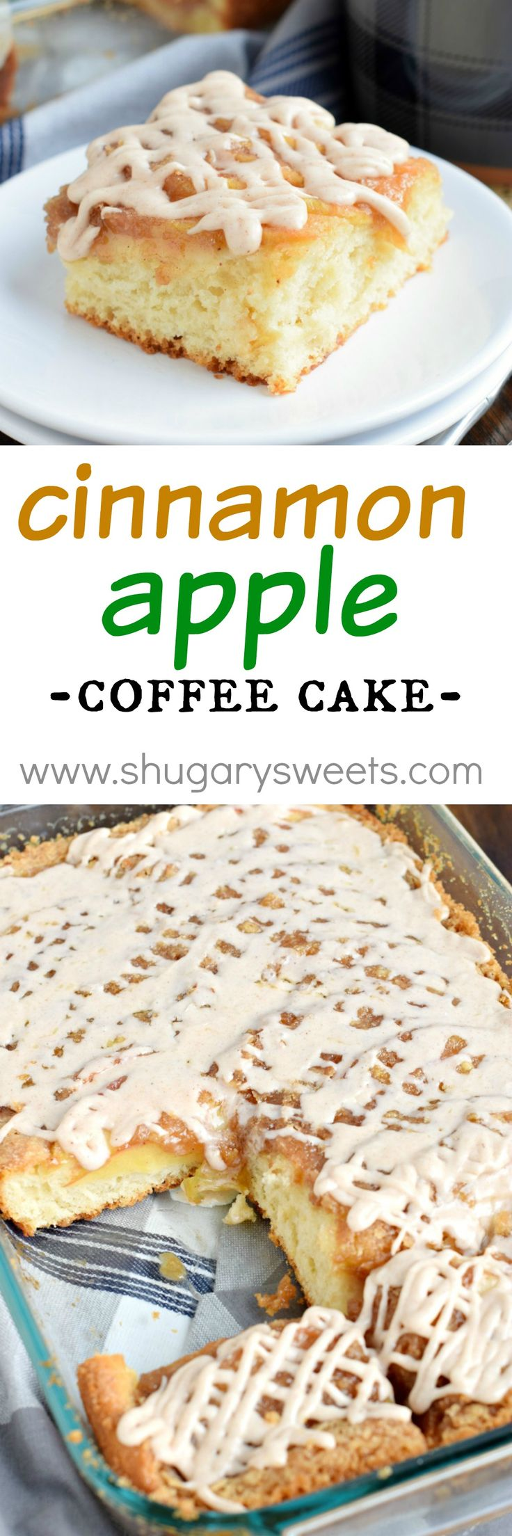 A delicious Cinnamon Apple Coffee Cake with the texture and flavor of cinnamon rolls! No need to shape or knead the delicious dough! Made with Fleischmann's Yeast! @BeABetterBaker #spon