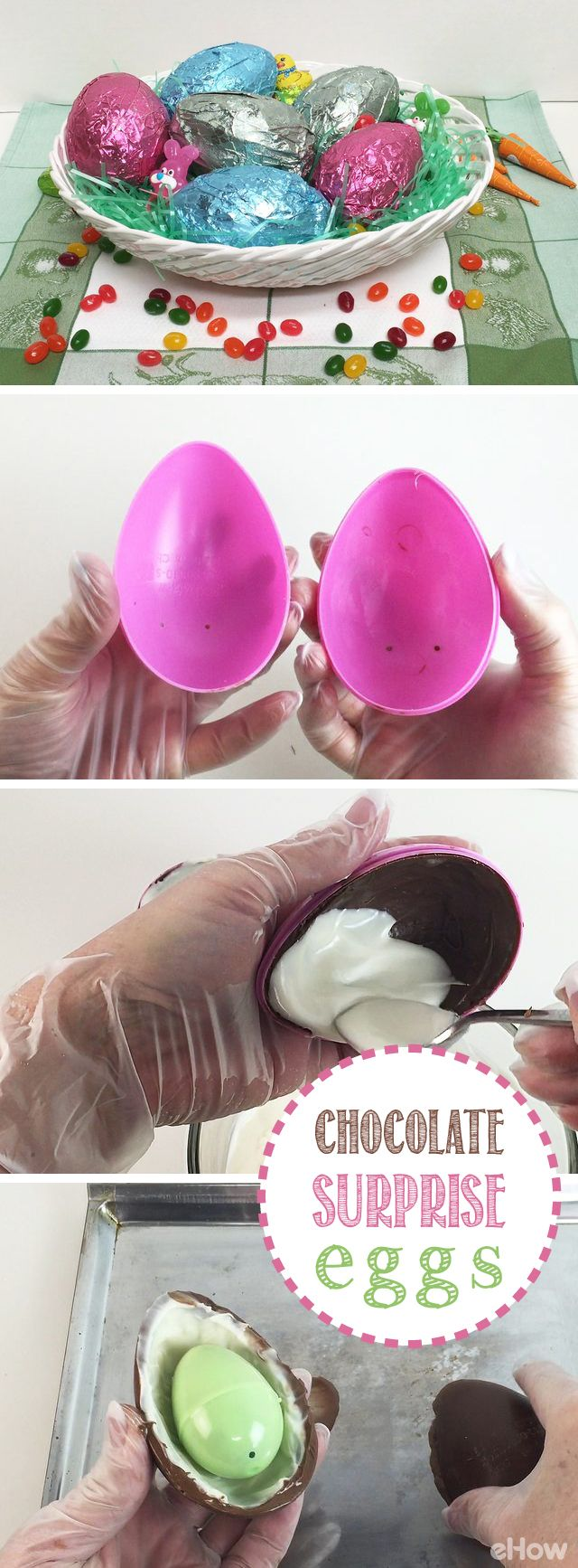 If you live in the US, you  know that Kinder Eggs are not allowed to be sold or brought in. But that doesn't mean you can't DIY a chocolate surprise egg!  All you need is a few plastic egg toys, chocolate and a little candy surprise! Full steps and VIDEO here: http://www.ehow.com/how_2146279_make-chocolate-easter-eggs.html?utm_source=pinterest.com&utm_medium=referral&utm_content=freestyle&utm_campaign=fanpage