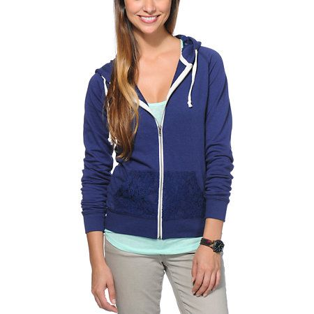Add a little feminine flair to your Fall look with the Trillium Crochet zip up hoodie for girls. This sweatshirt from Trillium adds a twist to a basic style with the crochet detailing at the hood and front hand pockets, while the solid Navy Blue color makes it easy to pair with just about anything.