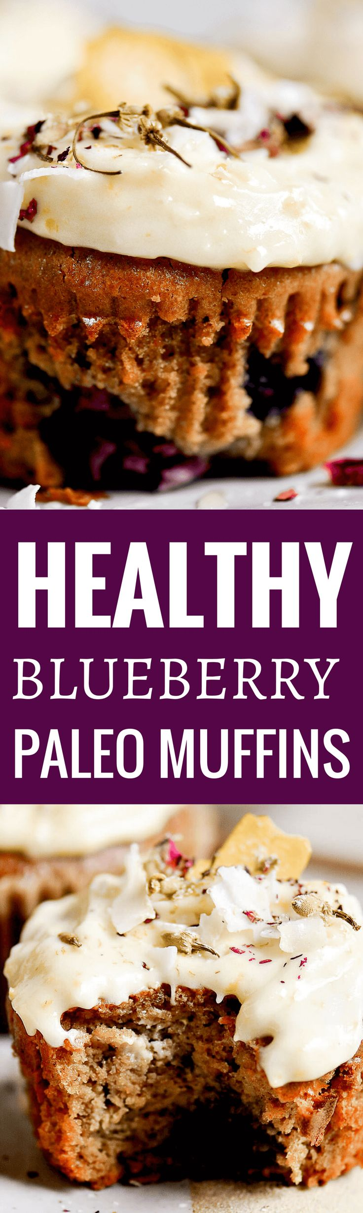 The lightest, most fluffy paleo blueberry muffins! Made with cashew butter and topped with a lushes vegan whipped lemon frosting. Naturally flourless, gluten free, dairy free, and dang delicious! All clean eating ingredients are used for this healthy muffin recipe. Pin now to make during meal prep or for a healthy breakfast.