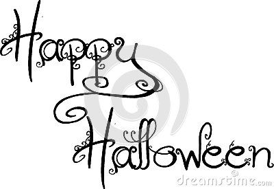 Illustration of Text  message 'Happy Halloween' hand written in black script with curls and flourishes added to the letters, white background.