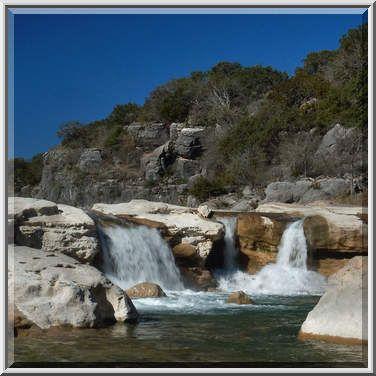 johnson city tx | Photo 606-24: Waterfalls above Pedernales Falls. Johnson City, Texas