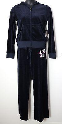 JUICY COUTURE Kiss Moi Velour Jacket & Sweat Pant Set, Tracksuit, Size XL, Blue