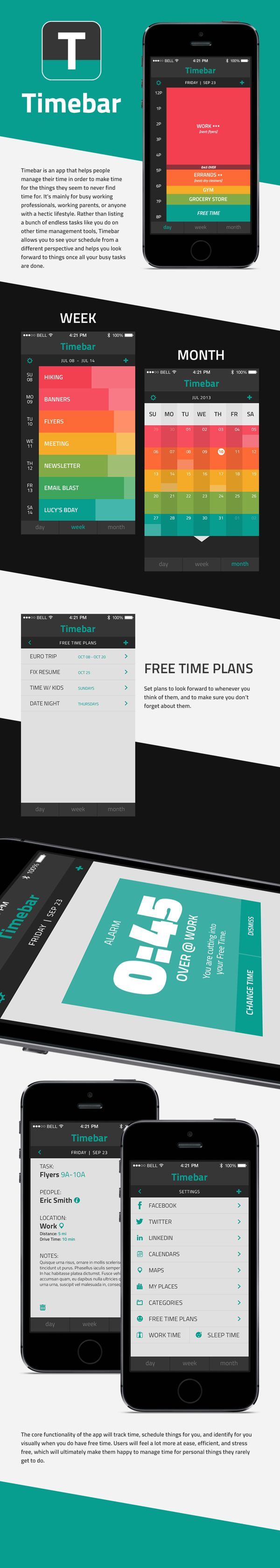 I was looking for a better calendar app I finally find it #Timebar Mobile #Design