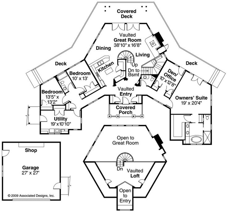Intriguing craftsman style hexagon home architecture for Hexagon deck plans