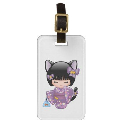 Neko Kokeshi Doll - Cat Ears Geisha Girl Luggage Tag - girl gifts special unique diy gift idea
