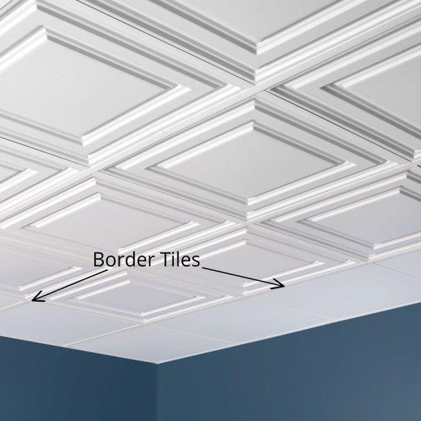 Genesis Ceiling Tile 2x2 Border Tile In White In 2020 With Images Drop Ceiling Tiles Ceiling Tiles Ceiling Tile