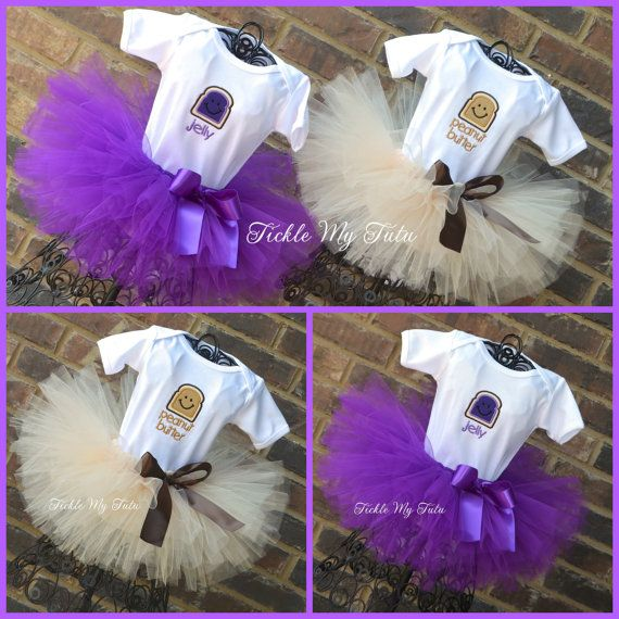 Peanut Butter and Jelly Twin Girls Tutu Set, Peanut Butter and Jelly Halloween Costumes for Twin Girls, PB&J Birthday Tutu Set