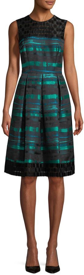 Carmen Marc Valvo Women's Stripe And Lace Dress Visit our site for Carmen Marc Valvo Sequined Lace Gown