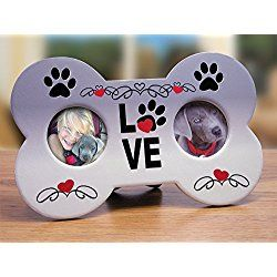 I Love My Dog Picture/ Photo Frame - Dog Bone Shaped Double Photo Frame - Paw Prints and Love Adorn This Plaque - Great Gift for Any Dog Lover - 9 X 5.5 Inch