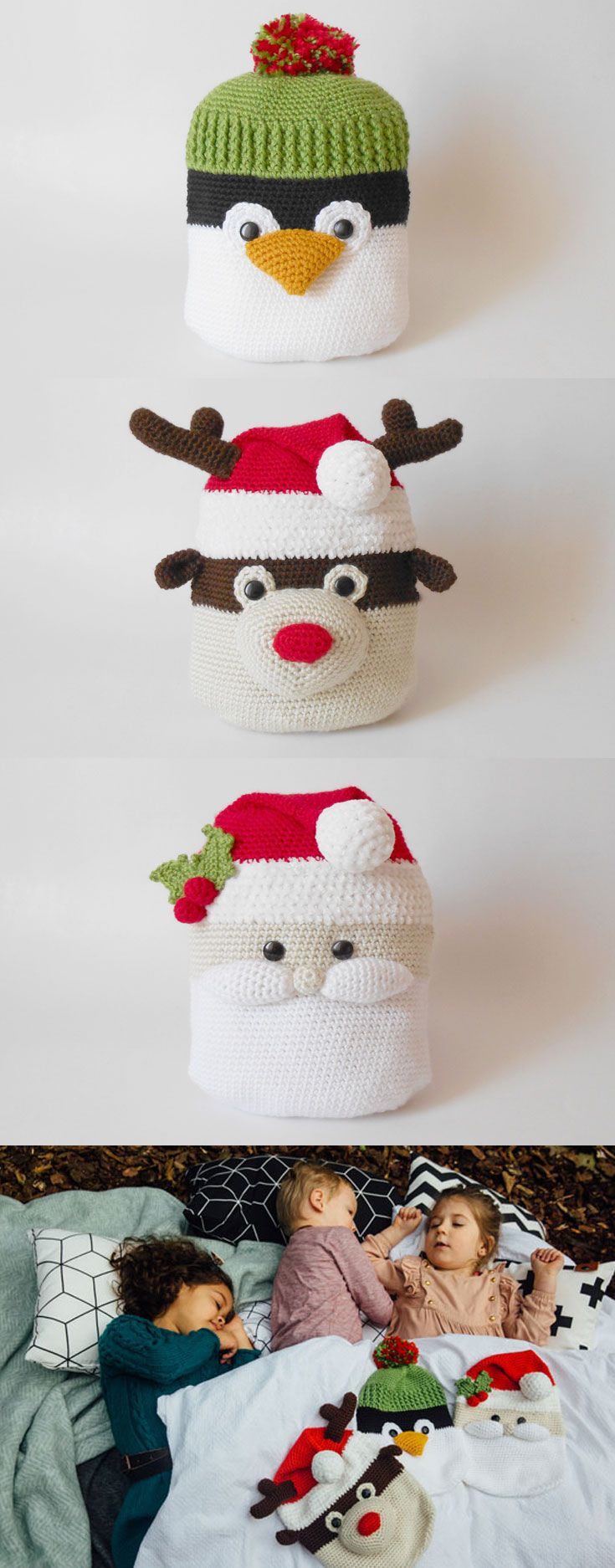 Christmas Pajamas' Keepers, a practical and decorative bag for the day and a cute companion for night time. A child's life is filled to the brim with different activities and outings, and what better way to keep it all organized than with cute and soft amigurumi bags?