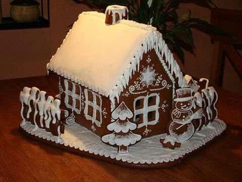 Snow covered gingerbread cottage - Snön lyser vit på taken, endast snögubben är vaken