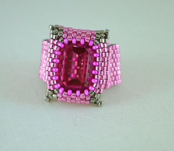 OOAK Hand Beaded Cocktail Ring Swarovski Statement Ring Hot