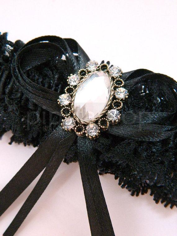 Black Gothic Wedding Garter by PipStarPop, $18.00 / Tim Burton
