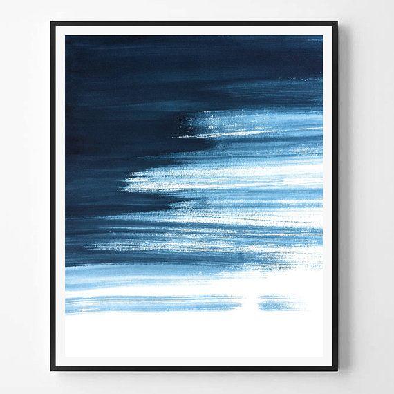 Abstract Print, Navy print, Watercolor print, Minimal print, Minimalist, Sea Ocean, Landscape abstract, Landcape, Scandinavian Printable Art