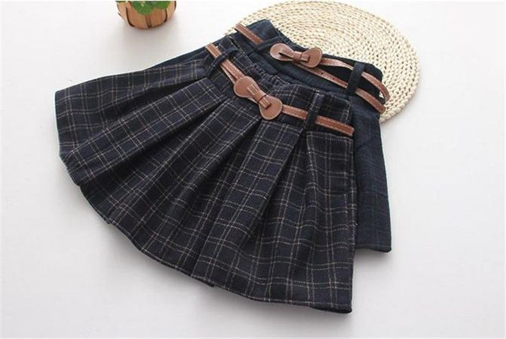 Hot Japanese Girl Student Sweet Check A-Line Mini Pants Skirt Belt Slim Winter