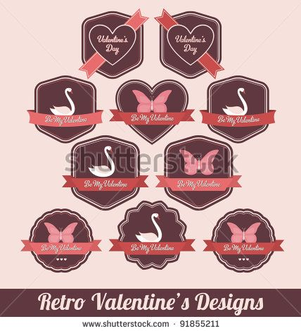 Valentines Day Labels - High Quality Retro Design by Vilmos Varga, via Shutterstock