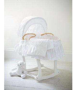 White Moses Basket with Coverlet #nursery