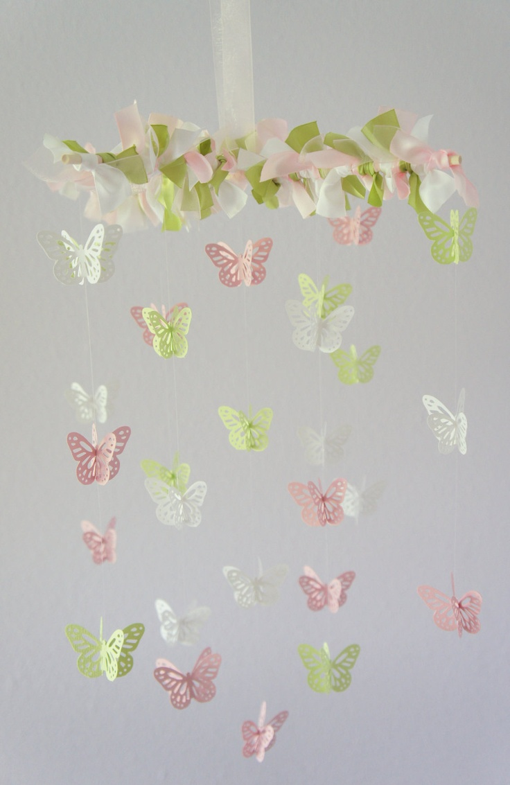 Diy butterfly mobile butterfly chandelier mobile - Baby Mobile In Pink Green White Butterfly Mobile Baby Shower Gift