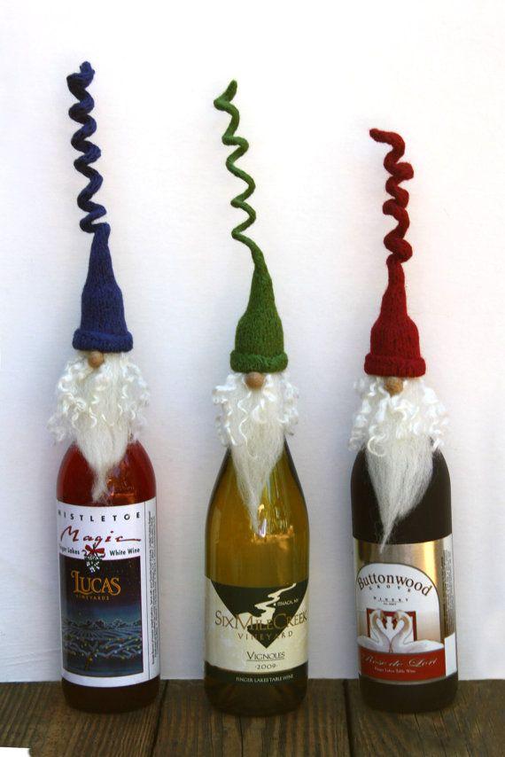 Santa wine cork holder, Wine bottle topper, Santa wine bottle cover, Christmas ornament, ,PICK Hat Color on Etsy, $13.50