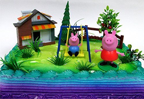 """PEPPA PIG 12 Piece Birthday CAKE Topper Set, Featuring Peppa Pig and George Pig, Decorative Themed Accessories, Figures Average 3"""" Tall"""