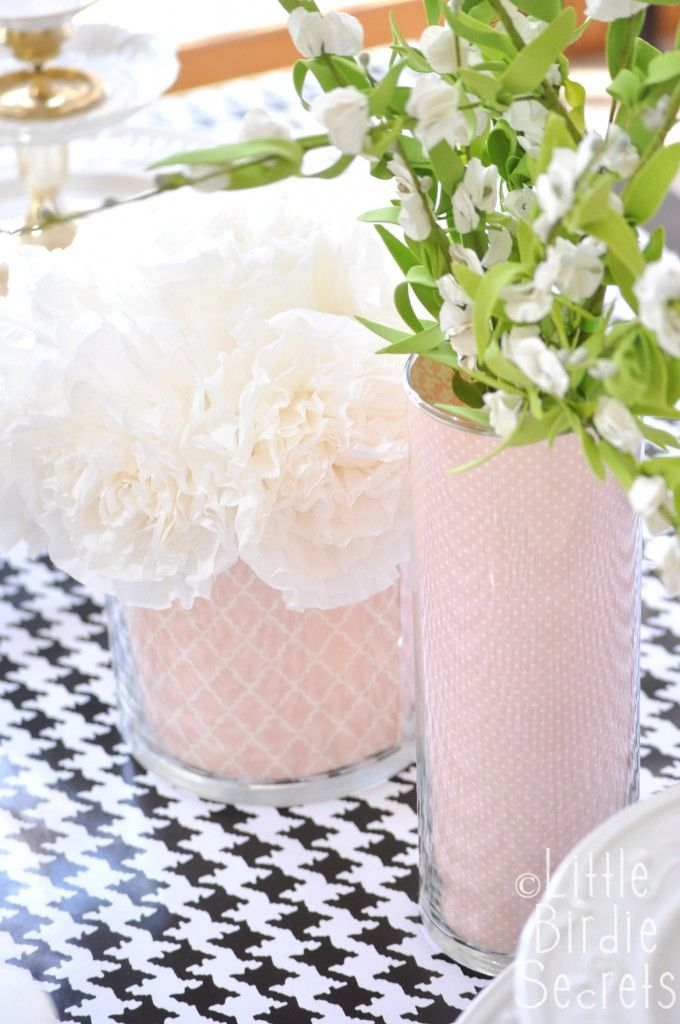 paper-filled vases. entirely new look!