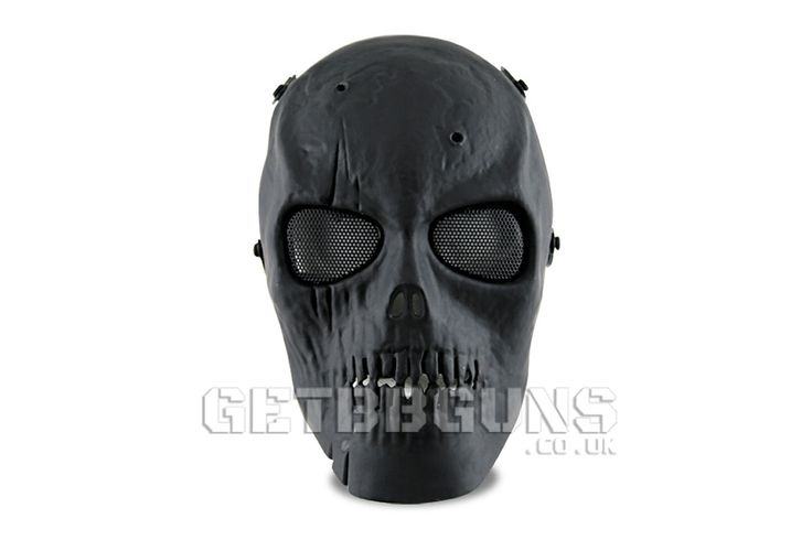 AIRSOFT SKULL MASK BLACK    The Airsoft skull mask provides excellent coverage and features a four point head strap which ensure that you stay in the game and not have any mask movement troubles. #getbbguns #bbguns #airsoft #mask #fullmask #mask