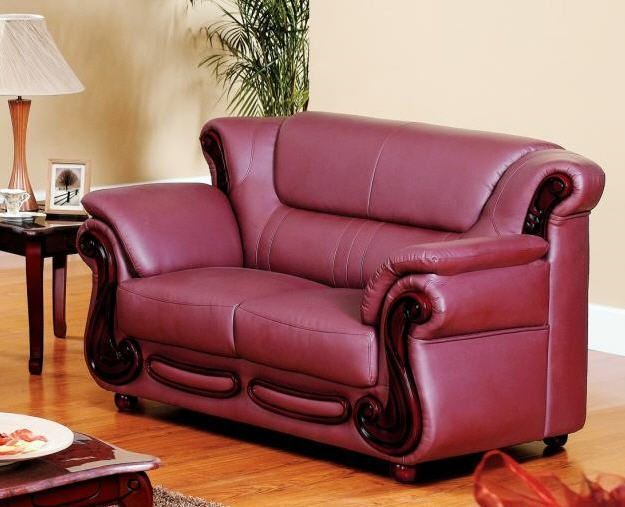 Leather Sleeper Sofa Burgundy leather with wood LoveSeat