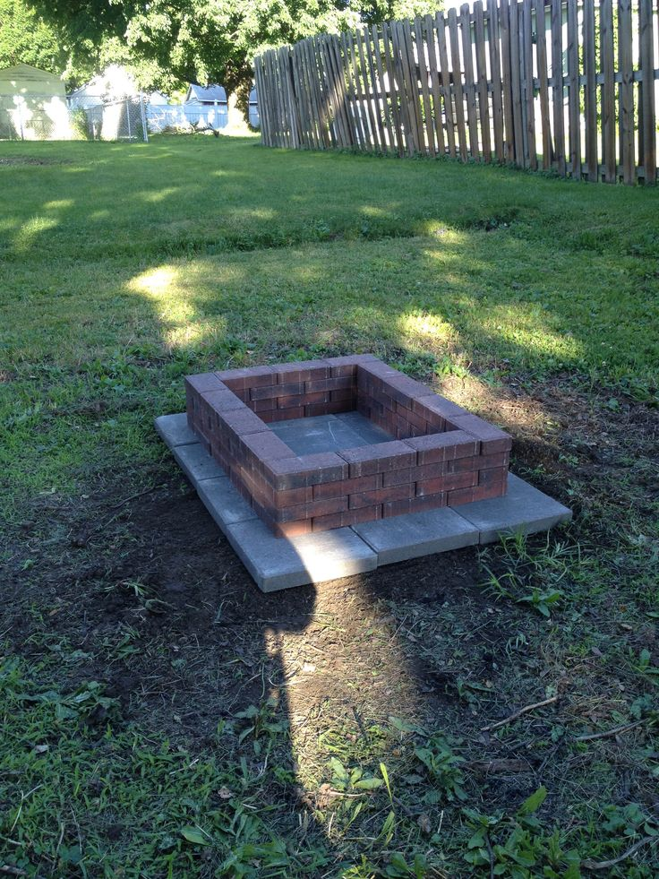 DIY brick fire pit. Under 50 from 12x12 gray cement