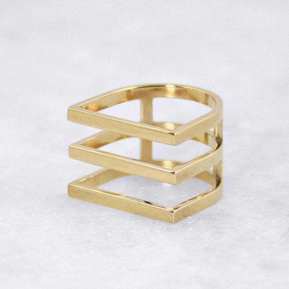 Triple Lines in Row Ring, Statement Ring, Minimal, Contemporary Stunning Style, Solid Yellow Gold, 14 karat Gold Ring, Stylish Perfect Ring