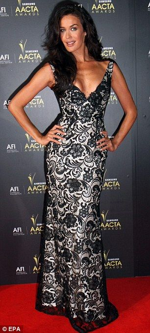 Australia's finest: Popular Australian model Megan Gale (left) wore a lacy number, while actress Rachael Taylor opted for a revealing Dion Lee creation