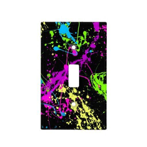 Fresh Retro Neon Paint Splatter Light Switch Cover Cool teen room decor