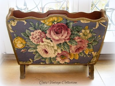 Antique Style Floral Magazine Holder 1950s - Cats Vintage Room