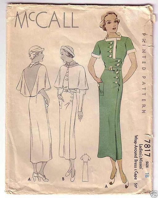 McCall 7817 | 1930s Ladies' & Misses' Wrap-Around Dress & Cape